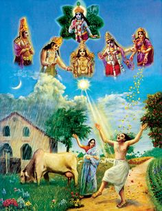 """Bg 3.10: In the beginning of creation, the Lord of all creatures sent forth generations of men and demigods, along with sacrifices for Visnu, and blessed them by saying, """"Be thou happy by this yajna [sacrifice] because its performance will bestow upon you all desirable things.""""  http://www.asitis.com/3/10.html"""
