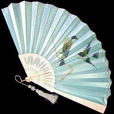 Large Antique Blue Silk Fan hand painted