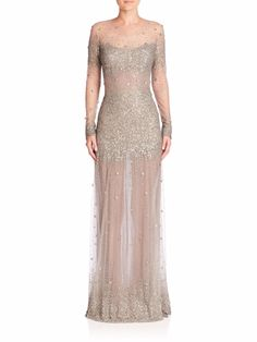 Blake's dress she wears to movie premiere after party with Taylor and Silas - Monique Lhuillier Embroidered Long-Sleeve Illusion Gown