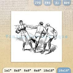 Football Players Digital Image Download by VintageRetroAntique