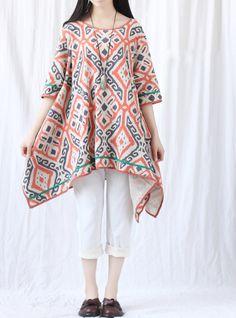 Summer Large size asymmetrical Short sleeve dress Women Printing blouse Long shirt