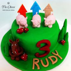 'Three Little Pigs' #cake for a 3 year olds #birthday party, customized at The Oberoi Patisserie & Delicatessen!