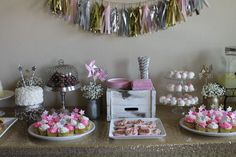Pink, Gold and Sparkly Dessert Table - #party