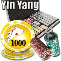 1,000 Ct Yin Yang 13.5 Gram Clay Poker Chip Set w/ Aluminum Case by Brybelly. $69.99. This is our Yin Yang clay poker chip set. This set includes 1000 clay composite casino grade poker chips in an aluminum case. This set also features a free dealer button and 2 decks of playing cards. Each chip contains a beautiful textured inlay that will make your chips the best on the block. Breakout: 300 $1's, 200 $5's, 200 $25's, 200 $100's, 50 $500's, 50 $1000's.