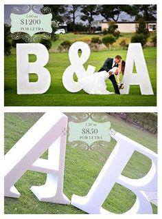 Letras para boda, Letras de 1.60 m $1200, Letras de 1.20 m $850