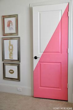 Honey We're Home: Diagonal Painted Office Doors