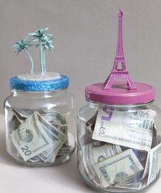 #DIY Money jar. (Put an object on top that represents your goal to remind you what you're working towards... great incentive) -  I'm making it a summer vacation with our children so they can contribute, and learn the lesson too. Of course I will need to use a large pickle jar.