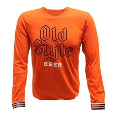 Old Style Beer Chicago Orange Men's Long Sleeve 100% Cotton Tee T-Shirt S-3XL #Unbranded #BasicTee