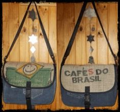 Messenger Bag made out of recycled denim and coffee sack for the flap. Bag Making, Making Out, Coffee Sacks, Sewing To Sell, Recycled Denim, My Fb, Custom Bags, Zipper Pouch, Recycling