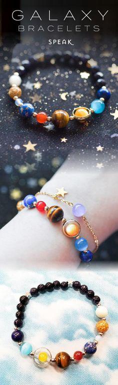 Milky Way Galaxy Bracelets - ★★★★★ (5/5) Solar System Bracelet, Cute Jewelry, Diy Jewelry, Jewelry Box, Jewelry Design, Beaded Jewelry, Jewelry Making, Space Jewelry, Handmade Jewelry
