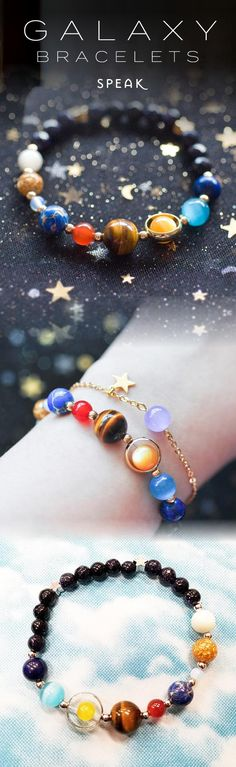 Milchstraße-Armband - Milky Way Bracelet – Milchstraße Armband – Cute Jewelry, Jewelry Crafts, Jewelry Box, Jewelry Accessories, Handmade Jewelry, Jewelry Design, Jewelry Making, Solar System Bracelet, Bijoux Diy