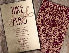 Burgundy Wedding Invitations Burgundy and Champagne Wedding