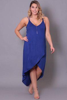 Plus Size Layered Cami Dress - Blue