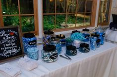 Waterfront Wedding Ceremony in Atlanta in the Fall was beautiful with Teal Bridesmaids Dresses Blue Candy Bars, Branch Centerpieces, Teal Bridesmaid Dresses, For You Blue, Blue Curacao, Waterfront Wedding, Cute Signs, Blue Weddings, Best Candy