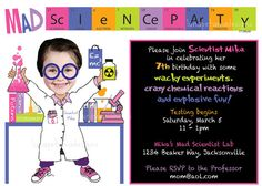 Getting very excited planning Georgia's birthday party.  Mad Science Birthday Party Invitation  Girl by LunaPetuniaDesigns, $14.00