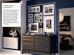 How to arrange photos on a wall