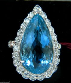 █$31000 GIA BLUE 18KT 17.78CT NATURAL BRILLIANT GEM AQUAMARINE DIAMOND RING VS█ #AvisDiamond #Cocktail
