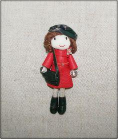 Jewelry Brooch Pin Leather Brooch Art Doll by Finasita on Etsy, €35.00