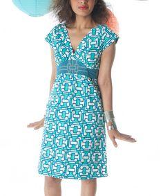 Another great find on #zulily! Blue Obi Crescent V-Neck Dress - Women by Mata Traders #zulilyfinds