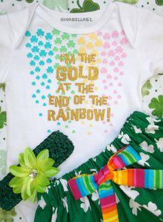 St. Patricks Day baby girl dress skirt onesie Irish princess outfit Lucky Rainbow pot of gold ruffle headband bow 3 6 9 12 18 m toddler