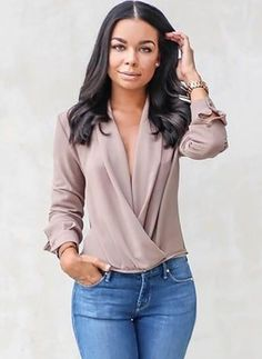 Autumn Loose Pure Color Slant Shoulder Long Sleeve T-Shirt Mode Outfits, Casual Outfits, Look Fashion, Womens Fashion, Fashion Design, Blue Jean Outfits, Beautiful Blouses, Professional Outfits, Weekend Wear