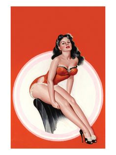 Eyeful Magazine; Brunette in a Red Bathing Suit Premium Poster