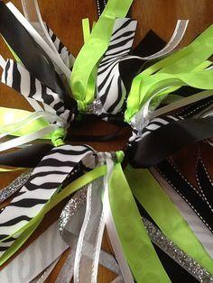 Large Neon Green, Black and White Zebra Hair Bow, Girls Hair Bows, Softball, Cheer Bows
