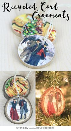 Recycle old greeting cards used to decorate mason jar tops recycled christmas card ornaments that can be used as gift tags and keepsakes solutioingenieria Choice Image