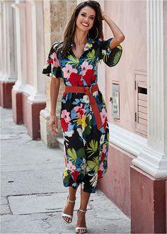 c4c42dc36d Sukienka z paskiem czarny w kolorowe kwiaty • 149.99 zł • bonprix