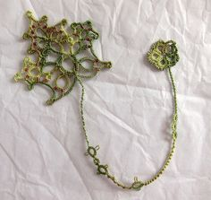 ~ Needle Tatting Green Leaf Beads ~ got to find this in shuttle tatting .