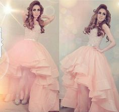Saudi Arabia Dubai Arabic Evening Dress, Pink Prom Dresses,High Low Prom Gown,Prom Dresses with Sparking Crystal ,Custom Made Prom Dresses.Prom Dresses 2016