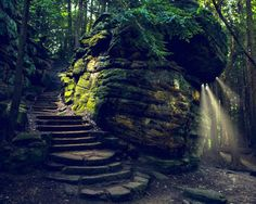 The Ledges Trail at Cuyahoga Valley National Park in Peninsula, Ohio -  The Ledges Trail follows the sandstone cliffs that make up Ritchie Ledges. The sandstone cliffs are truly incredible to see.