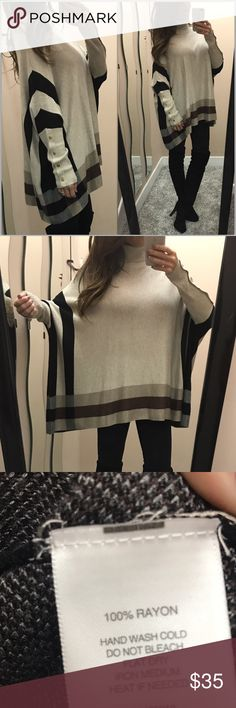 """Lightweight turtleneck poncho So soft and comfortable!! Thin sweater type poncho with batwing sleeves and a turtleneck. Gold tone """"buttons"""" on the sleeves. This is technically a size S, but  I'd say it will definitely fit S-M. Great condition. Normal wear, no pilling. hannah Sweaters Shrugs & Ponchos"""
