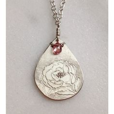 Peony Sterling Silver Necklace With Pink Tourmaline Gemstone Cable... (€230) ❤ liked on Polyvore featuring jewelry, necklaces, kikisan, sterling silver flower necklace, long necklaces, sterling silver teardrop necklace, sterling silver pendant necklace and pendant necklaces