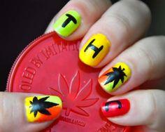 rasta weed nails