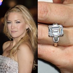 Unique engagement rings stand out because of special details, like the tapered baguette accent diamonds in Kate Hudson's ring  #engagement #engagementrings #jewelry #uniqueengagementrings #weddings #celebrity #katehudson