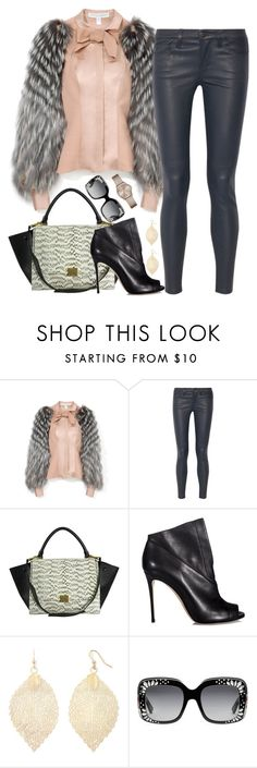 """""""Untitled #187"""" by faithfullystylish ❤ liked on Polyvore featuring Carolina Herrera, Current/Elliott, CÉLINE, Casadei, Boutique+, Gucci, DKNY and outfit"""