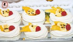 Fruit topped meringues at a Yellow Baby Shower #yellow #babyshower