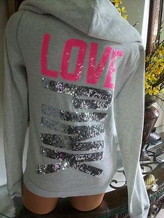 Victoria Secret Pink Bling Hoodie Limited Edition Sweatshirt NWT Large | eBay