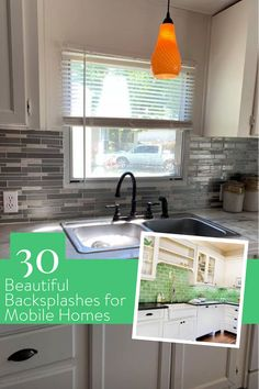 Choosing the right backsplash is a lot easier when you can see exactly how it will look in your home. That's why we've collected over 30 beautiful backsplashes in mobile homes only.Installing a new backsplash can completely change the look of your kitchen. It's also one of the best DIY projects for a beginner. #MobileHomeLiving #HomeRenovations
