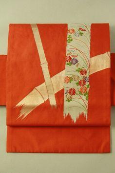 Vermilion nagoya obi / 錆朱地 金竹と竹取りの花お太鼓柄 名古屋帯   #Kimono #Japan http://global.rakuten.com/en/store/aiyama/