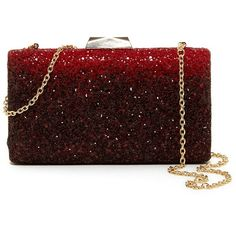 Natasha Accessories Ombre Glitter Clutch (€44) ❤ liked on Polyvore featuring bags, handbags, clutches, bolsa, purses, red, glitter handbags, ombre handbag, ombre purse and glitter clutches