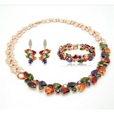 http://jewelryvo.com/18k-gold-plated-multicolour-necklace-drop-earring-bracelets-zirconia-jewelry-set.html Zirconia Jewelry Set