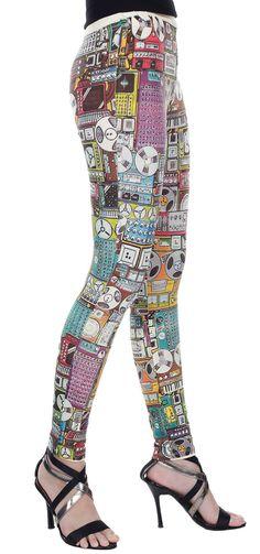 Leggings Cotton Spandex - New Radio Vintage Style Full Screen Print Leggings Stretch Pants - Code LEG53,LEG54 Size M