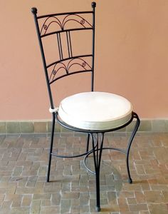 Moroccan Iron Garden Chair with Padded Cushion
