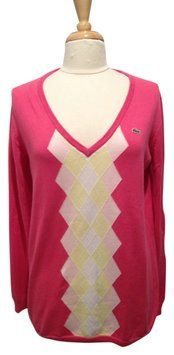Lacoste Argyle V-neck Long Sleeve Size 44 Or Xl. Sweater. This Lacoste Cotton V-neck Argyle sweater is one of Tradesy's Top Ten deals of the week! Save 57% when you shop now