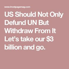 US Should Not Only Defund UN But Withdraw From It Let's take our $3 billion and go.