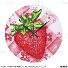 Single Strawberry Art Acrylic Wall Clock