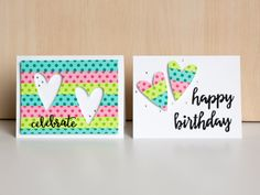 double the mileage out of washi tape covered cardstock by using the positive and negative punches