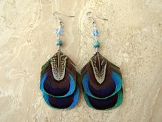 Peacock Feather Earrings  Beaded Feather by peacefrogdesigns, $25.00